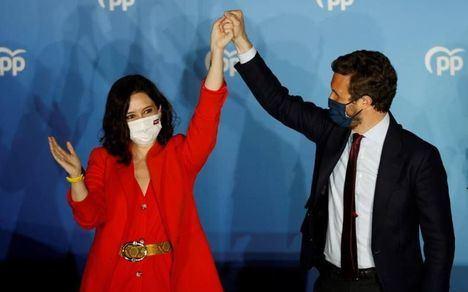 Ayuso arrasa en Madrid. El PP logra 65 escaños en Madrid, con el 95% escrutado