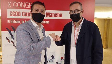 El presidente de la Diputación de Albacete apoya a Francisco de la Rosa en el X Congreso de CCOO CLM, donde opta a la reelección
