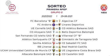 Albacete-Castellón en la primera jornada de Primera RFEF que comienza el último fin de semana de agosto