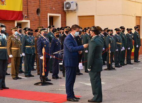 El presidente de la Diputación de Albacete, Santi Cabañero, participa en los actos organizados por la Guardia Civil con motivo de la festividad de su patrona
