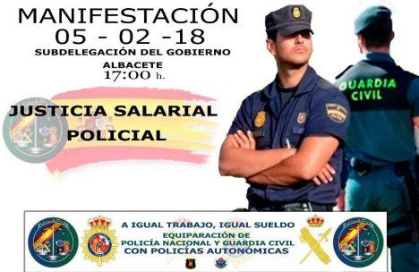 La Plataforma de Justicia Salarial de Policías y Guardias Civiles se manifiesta este lunes en Albacete a las 5 de la tarde