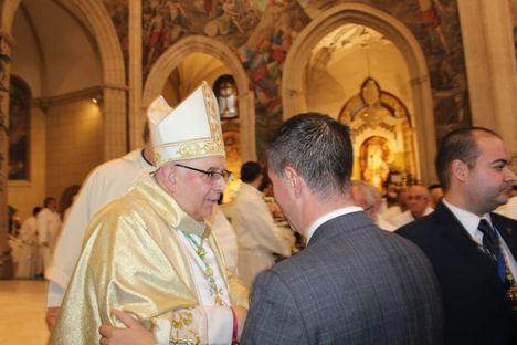 Santiago Cabañero asiste a la toma de posesión del nuevo obispo de Albacete, Monseñor Ángel Fernández Collado