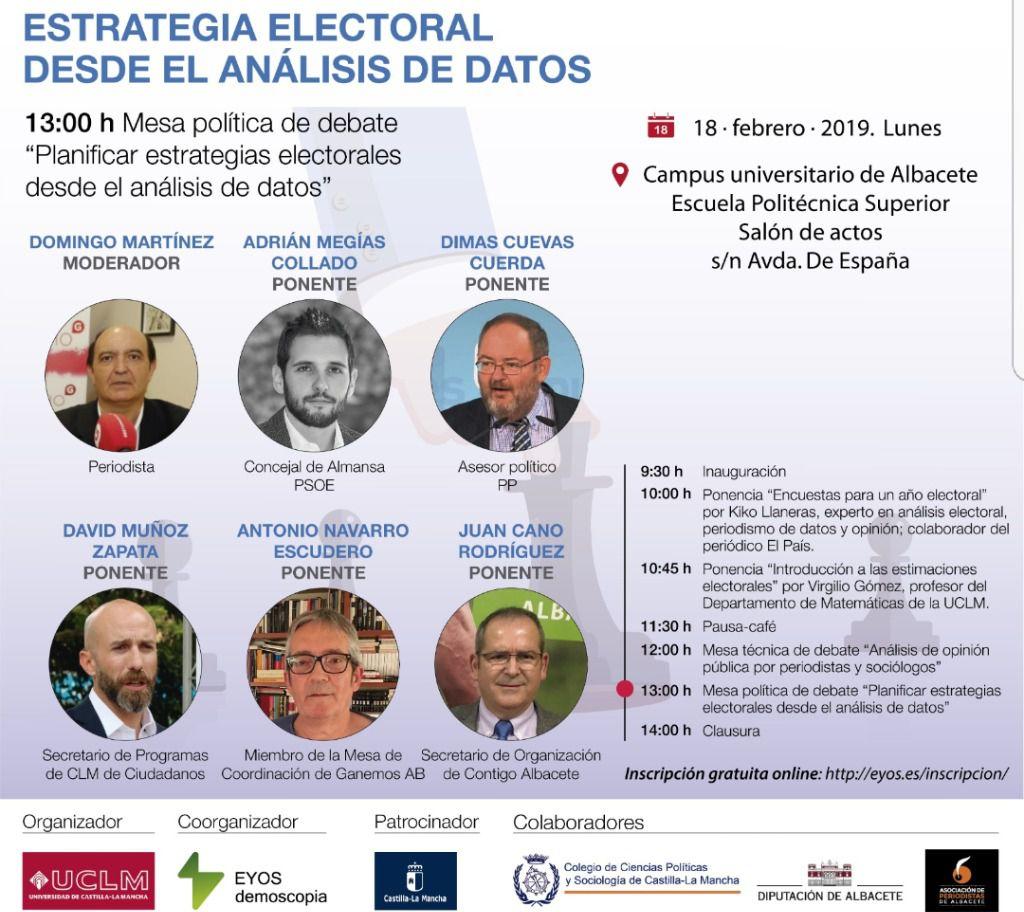 Albacete acogerá el lunes, día 18, una jornada sobre como usar el análisis de datos para elaborar estrategias electorales