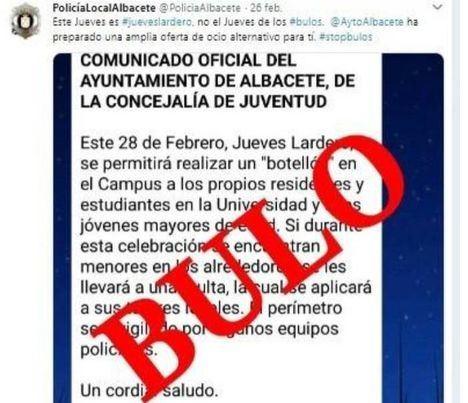 La Policía y Ayuntamiento desmienten que se vaya a permitir el botellón del 'Jueves Lardero' en Albacete