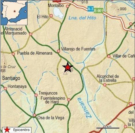 Registrado un terremoto de magnitud 2,5 en Villarejo de Fuentes (Cuenca), a 15 kilómetros del emplazamiento del ATC