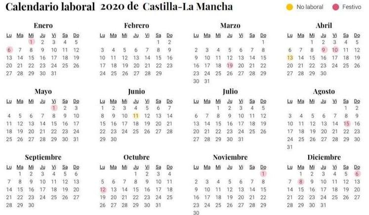El calendario laboral de 2020 tiene 12 festivos nacionales y varios puentes de tres días