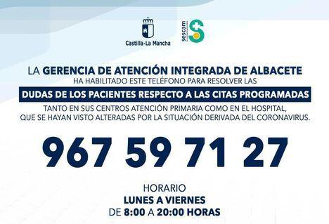 El SESCAM habilita teléfonos de información en las diferentes Gerencias de Área para resolver las dudas de los pacientes sobre sus citas sanitarias