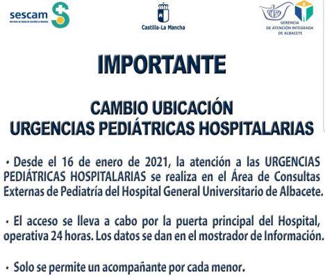 La Gerencia de Atención Integrada de Albacete traslada la atención de las urgencias pediátricas hospitalarias al área de consultas del Hospital General